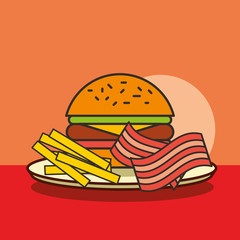 fast food burger french fries and bacon vector illustration