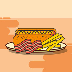 fast food hot dog french fries and bacon vector illustration