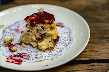 Muffin in white dish