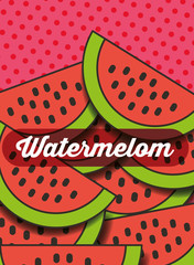 fruit watermelon on the dotted background vector illustration