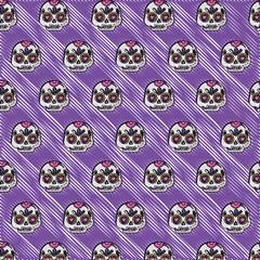 mexican sugar skulls background, colorful design. vector illustration