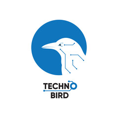 Technology Logo Icon. Bird Techno Computer Chip Innovation Communication Modern Design Concept. Abstract Silhouette Bird with Network Wire Connector Line Vector Illustration