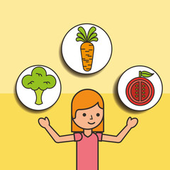 girl cartoon and carrot tomato broccoli vector illustration