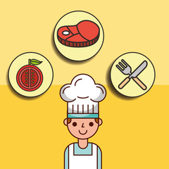 boy chef cartoon with meat tomato and fork knife vector illustration