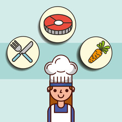 girl chef cartoon and fish carrot fork knife vector illustration