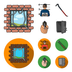 Photo of criminal, scrap, open safe, directional gun.Crime set collection icons in cartoon,flat style vector symbol stock illustration web.