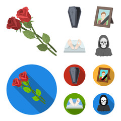 Coffin with a lid and a cross, a photograph of the deceased with a mourning ribbon, a corpse on the table with a tag in the morgue, death in a hood. Funeral ceremony set collection icons in cartoon