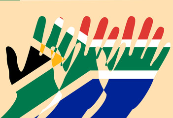 Nelson Mandela International Day. 18 July. Flag of the Republic of South Africa. Raised Hands, Cut-out parts