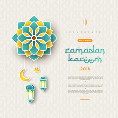 Ramadan Kareem concept banner with islamic geometric patterns and frame. Paper cut flowers, traditional lanterns, moon and stars on dark green tosca background color. Vector illustration