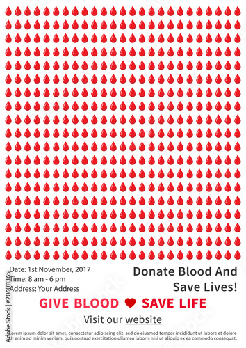 Blood Donation Campaign Vector Poster Template Blood Donation