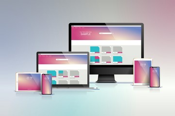 technology set with multiple devices, vector mockups