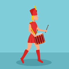 Woman drummer icon. Flat illustration of woman drummer vector icon for web design