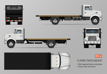 Flatbed truck vector mockup. Isolated template of the white lorry on transparent background for vehicle branding, corporate identity. View from left, right, front, back, and top sides.