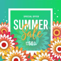 Bright summer sale banner, poster in trendy design