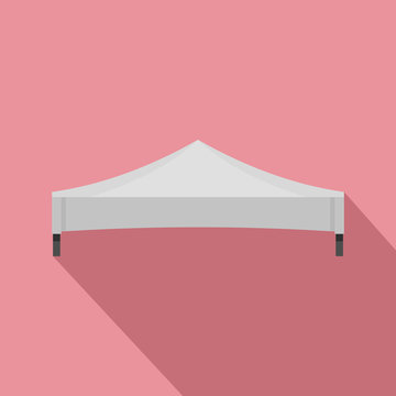 White tent icon. Flat illustration of white tent vector icon for web design