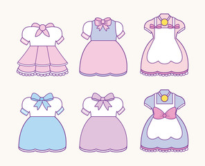 icon set of anime womans costumes over pink background, colorful design. vector illustration