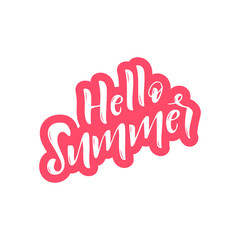 Hand drawn lettering phrase Hello summer