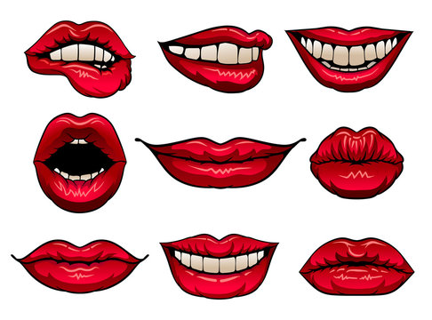Flat vector set of female lips with bright red lipstick. Icons of women s mouths. Design for print, mobile app, sticker or promo poster