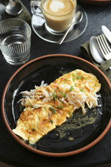 Omelette with crab and herbs