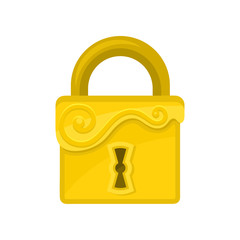 Square-shaped lock with ornamental engraving. Flat vector icon of old golden padlock. Element for computer or mobile game