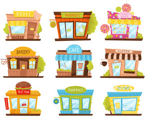 Vector set of small city stores in cartoon style. Candy shop, pharmacy, fast food restaurant, cafe. Facades of city buildings