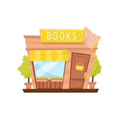 Cartoon vector icon of book store facade. Building with signboard, wooden door, big window, awning and decorative plants in pots