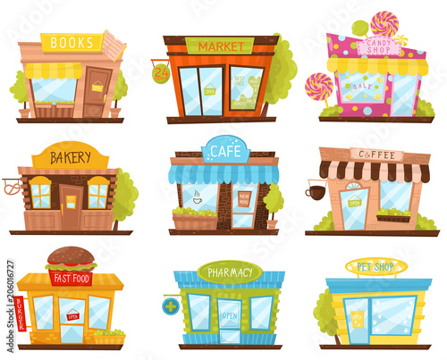 """Vector Set Of Small City Stores In Cartoon Style. Candy"