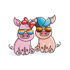 Cute cartoon baby pigs in a cool rainbow glasses