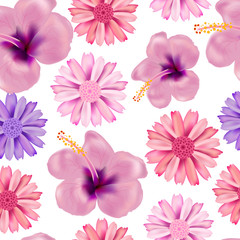 Beautiful seamless vector floral summer pattern