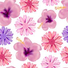 Beautiful seamless vector floral summer pattern
