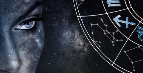 Sagittarius Horoscope Sign. Astrology women night sky background