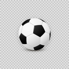Realistic football soccer ball vector design element on transparent checkered background