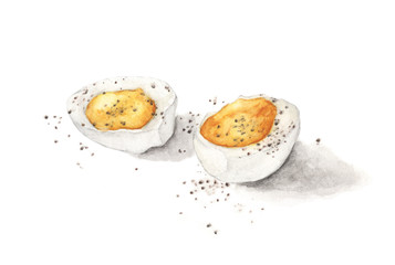 Hard boiled egg with pepper isolated on white background. Hand drawn watercolor illustration.