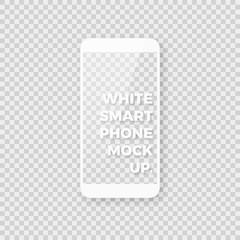 Realistic white smartphone vector mockup. Shiny clean white smart phone template with empty blank screen on checkered background.
