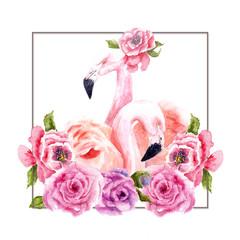 watercolor drawing of flamingos in flowers