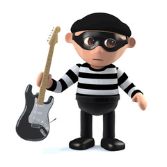 3d Burglar steals your electric guitar