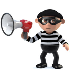 3d Burglar using a megaphone