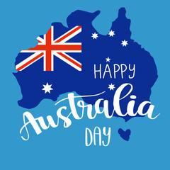 Happy Australia day lettering, calligraphy