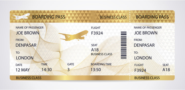 Golden Boarding pass (ticket, traveler check template) with aircraft (airplane or plane) silhouette on gold guilloche background. Travel by Aerial Transport. Vacation. Isolated vector on white