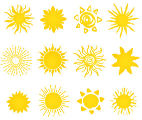 Hand drawn vector set of different suns icons