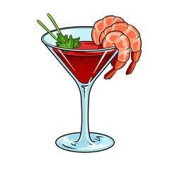 Shrimp cocktail pop art vector illustration