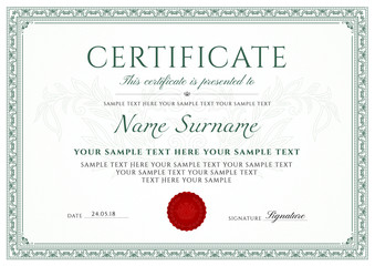 Certificate, Diploma of completion (design template, white background) with green Frame, Border, light Guilloche pattern (watermark) and red emblem