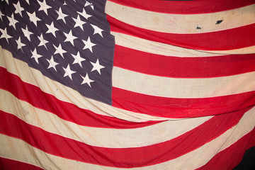 Closeup of grunge used usa American flag