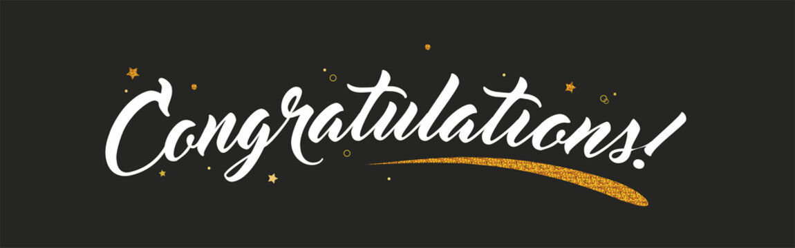 Congrats, Congratulations banner with glitter decoration. Handwritten modern brush lettering dark background. Vector Illustration for greeting