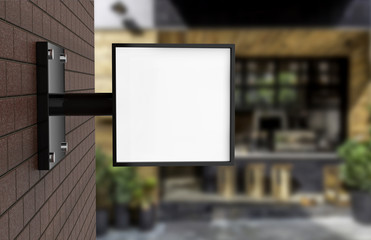 Signboard on brick wall, empty square light box mock up, 3d illustration