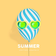 Summer concept with sunglasses and striped balloon, summer rest and party