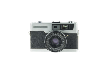 vintage film camera isolated in white background / portrait of an old camera in silver colored metal