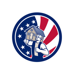 Icon retro style illustration of an American house removal or mover carrying a house with United States of America USA star spangled banner or stars and stripes flag inside circle isolated background.