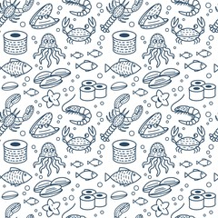 Fresh Seafood Vector Seamless Pattern