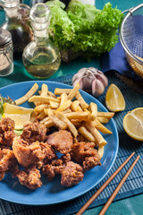 Crispy chicken karaage served with french fries